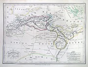 Northern Africa Framed Prints - Map of North Africa or Barbary Framed Print by Paul Fearn