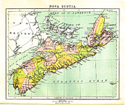 Nova Drawings - map of Nova Scotia - 1878 by Art  MacKay
