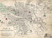 Urban Drawings Framed Prints - Map of Paris at the outbreak of the French Revolution Framed Print by French School