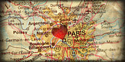 France Map Prints - Map of Paris France Europe in a Antique Distressed Vintage Grung Print by ELITE IMAGE photography By Chad McDermott
