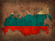 Map Art Mixed Media Prints - Map of Russia With Flag Art on Distressed Worn Canvas Print by Design Turnpike
