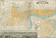 China Drawings - Map of Shanghai China  1937 by Pg Reproductions