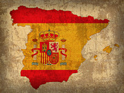 Map Art Mixed Media Prints - Map of Spain With Flag Art on Distressed Worn Canvas Print by Design Turnpike
