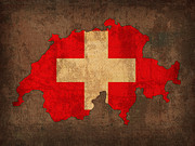 Distressed Mixed Media Prints - Map of Switzerland With Flag Art on Distressed Worn Canvas Print by Design Turnpike