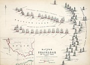 Ship Drawings Posters - Map of the Battle of Trafalgar Poster by Alexander Keith Johnson
