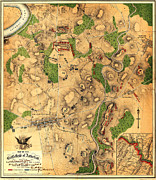 Vintage Map Paintings - Map of the battlefield of Antietam 1862 by MotionAge Art and Design - Ahmet Asar