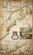 Old Map Paintings - Map of the Dominions of the King of Great Britain on ye Continent of North America London 1715 by MotionAge Art and Design - Ahmet Asar