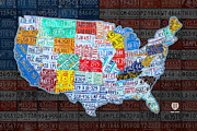 Landmarks Mixed Media Framed Prints - Map of the United States in Vintage License Plates on American Flag Framed Print by Design Turnpike