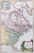 United States Drawings Prints - Map of the USA and the British Dominions in North America Print by English School