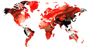 Red And Black Art - Map of The World 10 -Colorful Abstract Art by Sharon Cummings