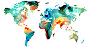 Map Of The World Mixed Media Posters - Map of The World 11 -Colorful Abstract Art Poster by Sharon Cummings