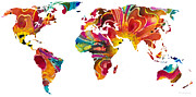 North America Mixed Media Prints - Map of The World 2 -Colorful Abstract Art Print by Sharon Cummings