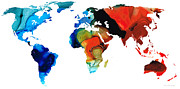 Map Of The World Mixed Media Posters - Map of The World 3 -Colorful Abstract Art Poster by Sharon Cummings