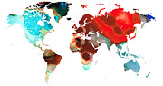 Wall Art Mixed Media - Map of The World 5 -Colorful Abstract Art by Sharon Cummings