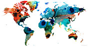 Abstract Map Mixed Media Posters - Map of The World 6 -Colorful Abstract Art Poster by Sharon Cummings