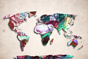 Abstract Map Posters - Map Of The World - Abstract Color Design Poster by World Art Prints And Designs