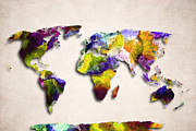 Abstract Map Posters - Map Of The World - Abstract Design Poster by World Art Prints And Designs