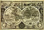 World Map Canvas Photos - Map of the World Antique Reproduction by Inspired Nature Photography By Shelley Myke