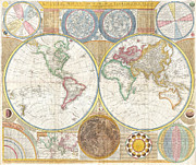 Map Of The World Painting Posters - Map Of The World - Circa 1794 Poster by Outsider Fine Art Images -  United States