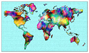 World Map Canvas Mixed Media Metal Prints - Map of the World Metal Print by Mark Compton