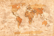 Watercolor  Posters - Map of the World Poster by Michael Tompsett
