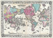 U.s On The Continent Of America Framed Prints - Map of the World Framed Print by Paul Fearn