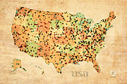 United States Map Prints - Map of United States of America with Crystallized Counties on Worn Parchment Print by Design Turnpike