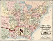 Old Map Paintings - Map of US Railroads and Water Courses 1861 by MotionAge Art and Design - Ahmet Asar
