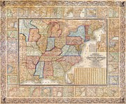 Geography Painting Prints - Map of USA  1844 Print by Pg Reproductions
