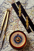 Antique Map Photos - Map with compass tools by Garry Gay