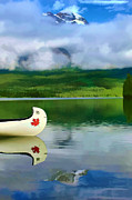 Canoe Posters - Maple Leaf Canoe on Pyramid Lake Poster by Teresa Zieba