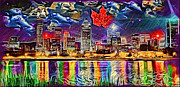 Reflections Of Sky In Water Digital Art Prints - Maple Leaf Montreal Print by Daniel Janda