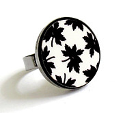 Black Ring Jewelry - Maple Leaves In Black And White Ring by Rony Bank