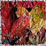 Red And Gold Leaves Framed Prints - Maple Leaves Square Grunge Framed Print by Barbara Griffin