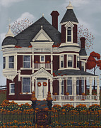 Autumn Folk Art Paintings - Maple Place by Catherine Holman