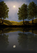 Vermont Photographs Framed Prints - Maples In Moonlight Reflections Framed Print by Frank Wilson