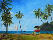 Coconut Trees Paintings - Maracas Bay 6 by Samantha Rochard