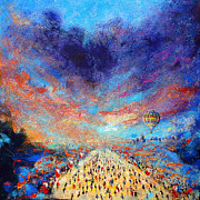 Crowds Paintings - Marathon by Neil McBride