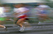 Marathons Prints - Marathon race downtown Seattle motion blurred runners Print by Jim Corwin