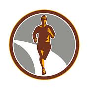 Marathon Runner Front Circle Retro Print by Aloysius Patrimonio