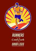 Marathon Runner Retro Poster Print by Aloysius Patrimonio