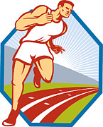 Track And Field Prints - Marathon Runner Running Race Track Retro Print by Aloysius Patrimonio