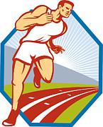Marathon Runner Running Race Track Retro Print by Aloysius Patrimonio