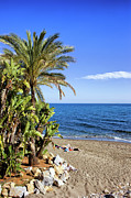 Sunbathe Prints - Marbella Beach by the Mediterranean Sea in Spain Print by Artur Bogacki