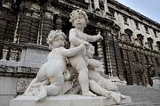 Playing Angels Framed Prints - Marble cherub and angels statue Vienna Austria Framed Print by Imran Ahmed