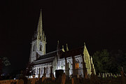 St Margaret Photo Posters - Marble church Bodelwyddan at night Poster by Allan Bell