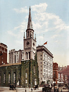 Marble Digital Art Prints - Marble Collegiate Church Holland House New York Print by Unknown