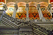 Library Digital Art - Marble stairway in Library of Congress in Washington DC by Ruth Hager