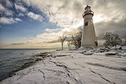 Marblehead In The Snow Print by Laura James