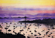 Silhouette Painting Posters - Marblehead Sunset Watercolor Poster by Michelle Wiarda